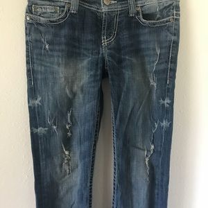 {BKE} Paxton Distressed Low Rise Boot Cut Jean
